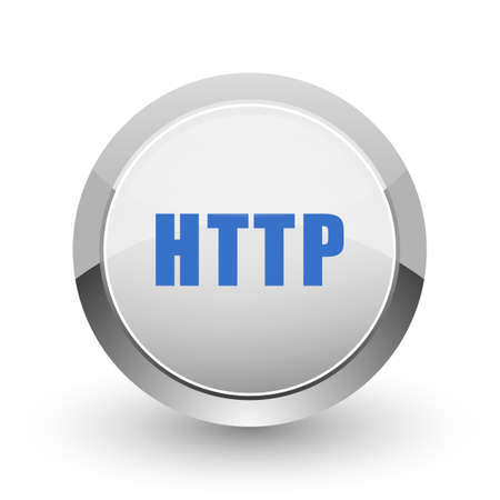 domains: Http chrome border web and smartphone apps design round glossy icon. Stock Photo