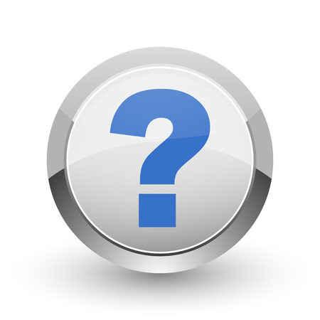 inquiry: Question mark chrome border web and smartphone apps design round glossy icon.