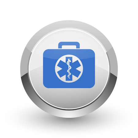 first aid kit key: Rescue kit chrome border web and smartphone apps design round glossy icon.