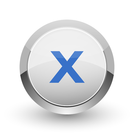 Cancel chrome border web and smartphone apps design round glossy icon.
