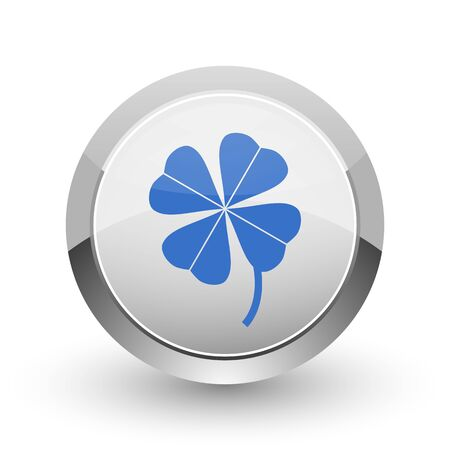 fourleaf: Four-leaf clover chrome border web and smartphone apps design round glossy icon. Stock Photo
