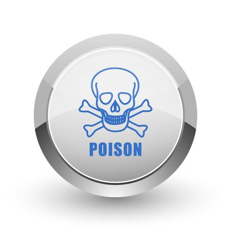 mortal: Poison skull chrome border web and smartphone apps design round glossy icon. Stock Photo