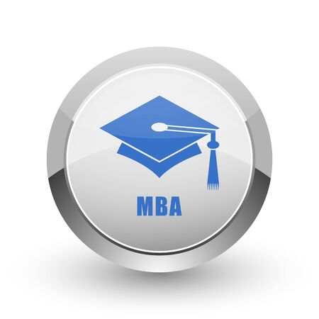 abstract academic: Mba chrome border web and smartphone apps design round glossy icon.