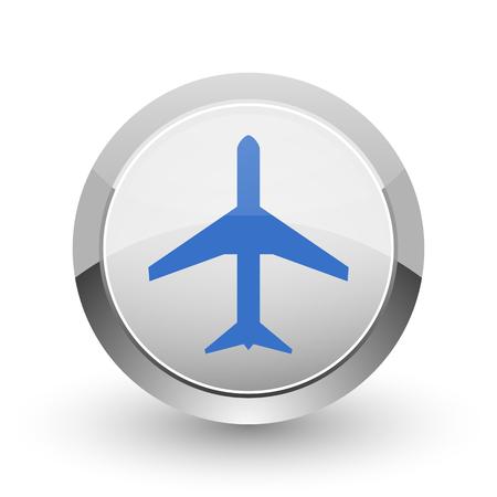 Plane chrome border web and smartphone apps design round glossy icon.