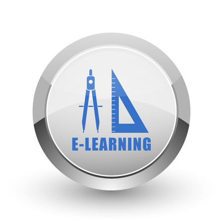 computer education: Learning chrome border web and smartphone apps design round glossy icon.