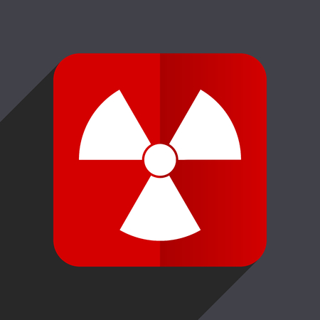 gamma radiation: Radiation flat design white and red vector web icon on gray background with shadow in eps10.