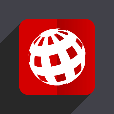 Earth flat design white and red vector web icon on gray background with shadow in eps10.