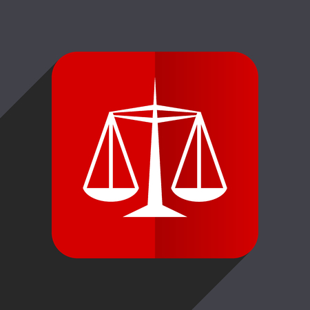 Justice flat design white and red vector web icon on gray background with shadow in eps10. Illustration
