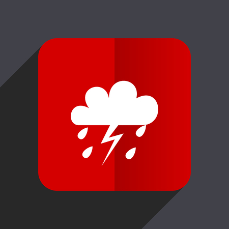 Storm flat design white and red vector web icon on gray background with shadow in eps10. Illustration