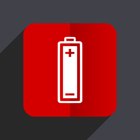 Battery flat design white and red vector web icon on gray background with shadow in eps10.
