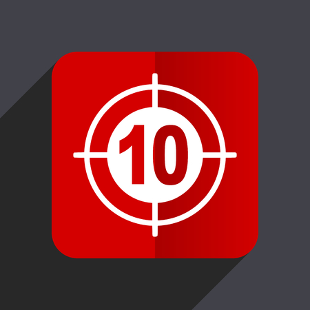 Target flat design white and red vector web icon on gray background with shadow in eps10.