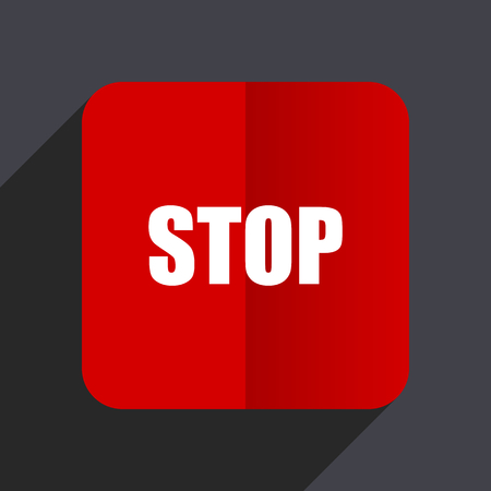 Stop flat design white and red vector web icon on gray background with shadow in eps10.