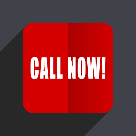Call now flat design white and red vector web icon on gray background with shadow in eps10. Stock Illustratie
