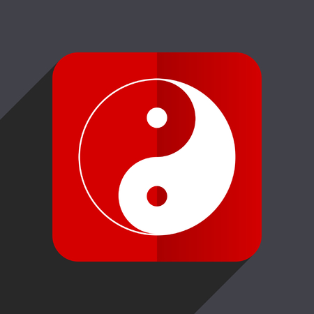 Ying yang flat design white and red vector web icon on gray background with shadow in eps10.