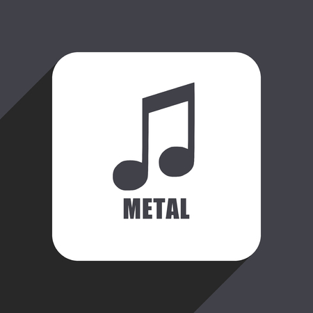 live stream radio: Metal music flat design web icon isolated on gray background