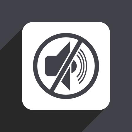 logo music: Mute flat design web icon isolated on gray background