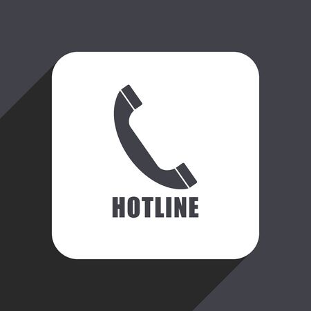 receiver: Hotline flat design web icon isolated on gray background