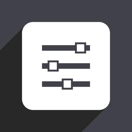 logo music: Slider flat design web icon isolated on gray background