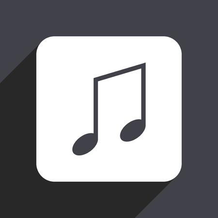 logo music: Music flat design web icon isolated on gray background
