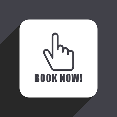 hotel staff: Book now flat design web icon isolated on gray background Stock Photo