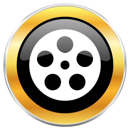 Film black web icon with golden border isolated on white background. Round glossy button.