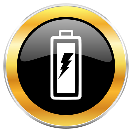 Battery black web icon with golden border isolated on white background. Round glossy button. Stock Photo - 79100609