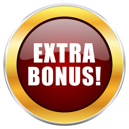 discounting: Extra bonus red web icon with golden border isolated on white background. Round glossy button.