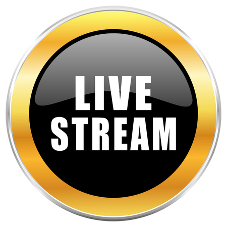 Live stream black web icon with golden border isolated on white background. Round glossy button.