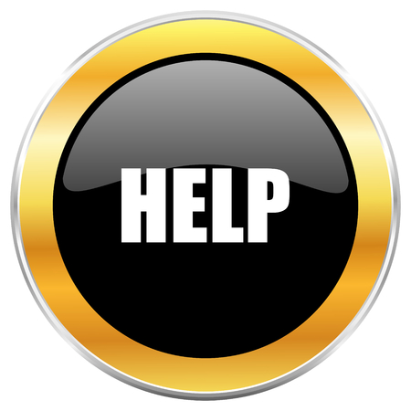 inform information: Help black web icon with golden border isolated on white background. Round glossy button.