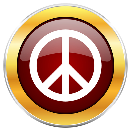 Peace red web icon with golden border isolated on white background. Round glossy button.