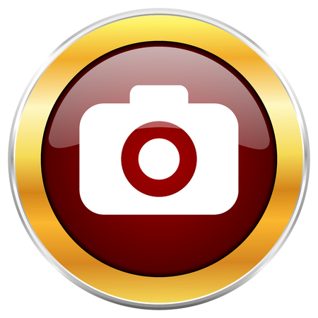 Photo camera red web icon with golden border isolated on white background. Round glossy button.