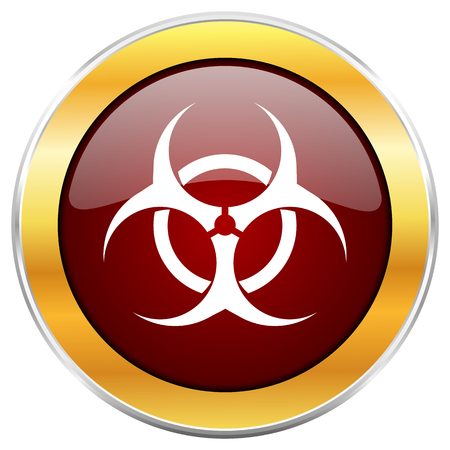 contagious: Biohazard red web icon with golden border isolated on white background. Round glossy button. Stock Photo