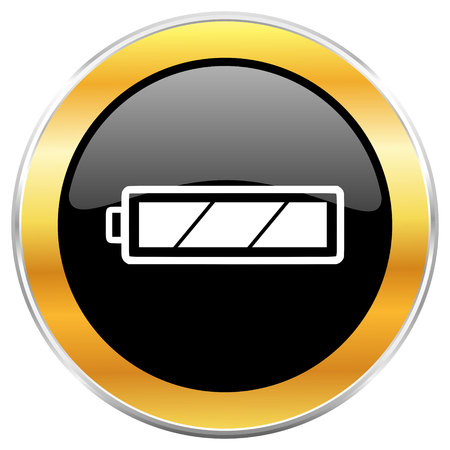 Battery black web icon with golden border isolated on white background. Round glossy button. Stock Photo - 79102573