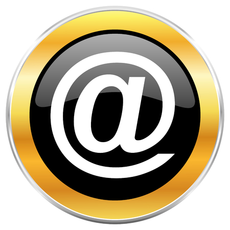 Email black web icon with golden border isolated on white background. Round glossy button.