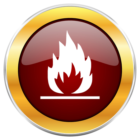 Flame red web icon with golden border isolated on white background. Round glossy button. Stock Photo