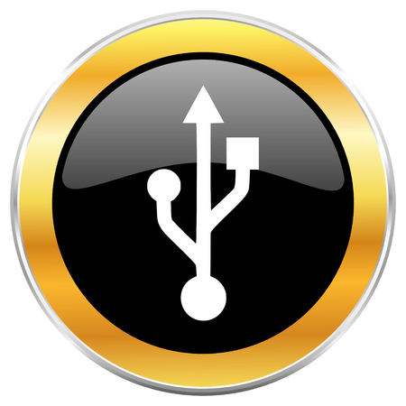 pendrive: Usb black web icon with golden border isolated on white background. Round glossy button.