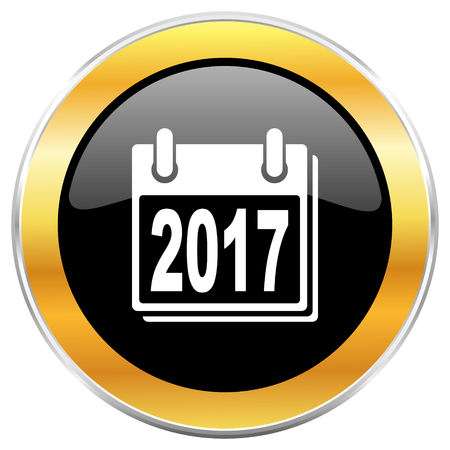 next year: New year 2017 black web icon with golden border isolated on white background. Round glossy button.