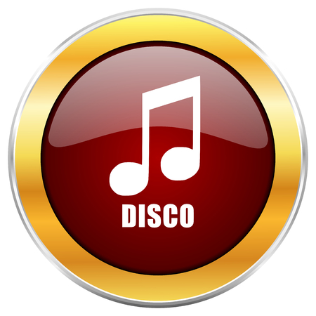 live stream radio: Disco music red web icon with golden border isolated on white background. Round glossy button. Stock Photo