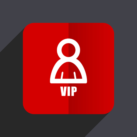 exclusive: Vip flat design web vector icon. Red square sign on gray background in eps 10.