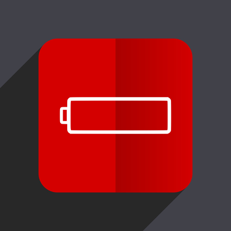 Battery flat design web vector red icon Çizim