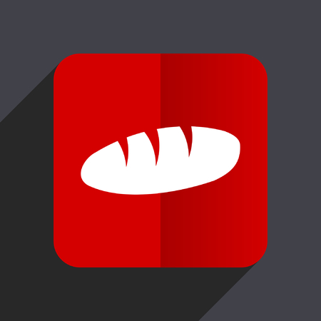 crusty: Bread flat design web vector icon. Red square sign on gray background in eps 10.