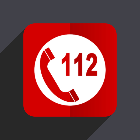 Emergency call flat design web vector red icon