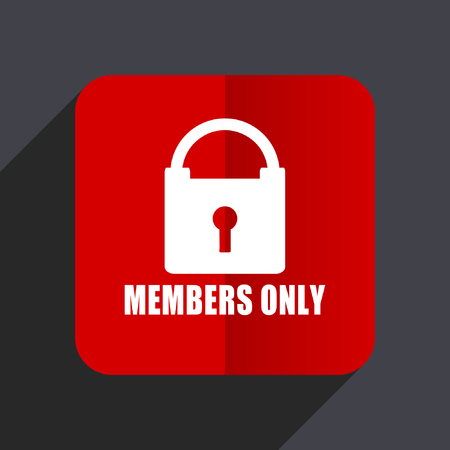 celebrities: Members only flat design web vector icon. Red square sign on gray background in eps 10.