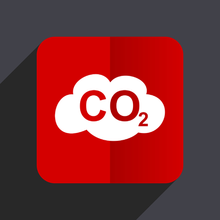 Carbon dioxide flat design web vector red icon