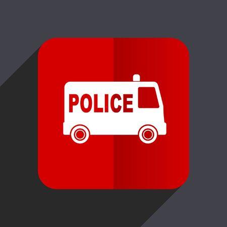 patrolman: Police flat design web vector red icon