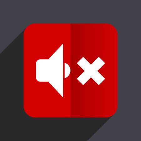 logo music: Speaker volume flat design web vector red icon