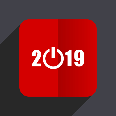 beginnings: New year 2019 flat design web vector red icon