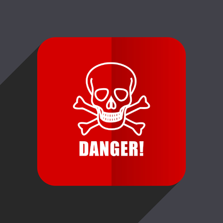 hazard: Danger skull flat design web vector icon. Red square sign on gray background in eps 10.