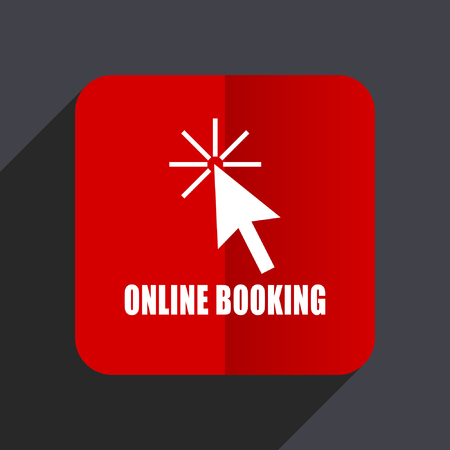 Online booking flat design web vector icon. Red square sign on gray background in eps 10. Illustration