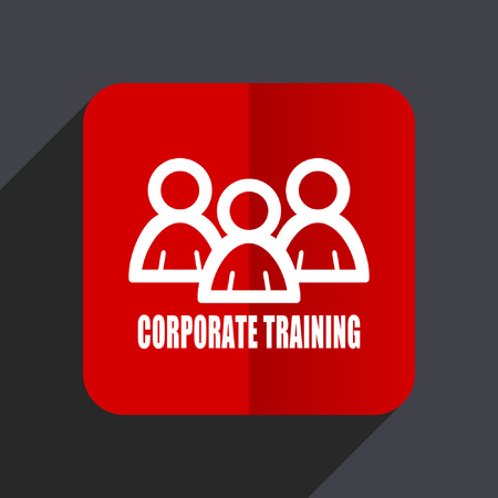 briefing: Corporate training flat design web vector icon. Red square sign on gray background in eps 10. Illustration